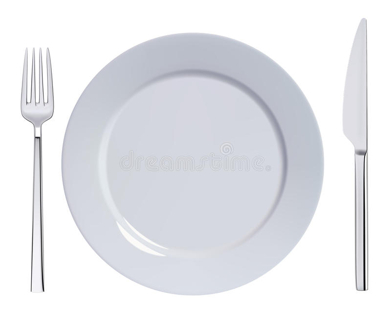 Плита, нож и вилка обедающего иллюстрация штока