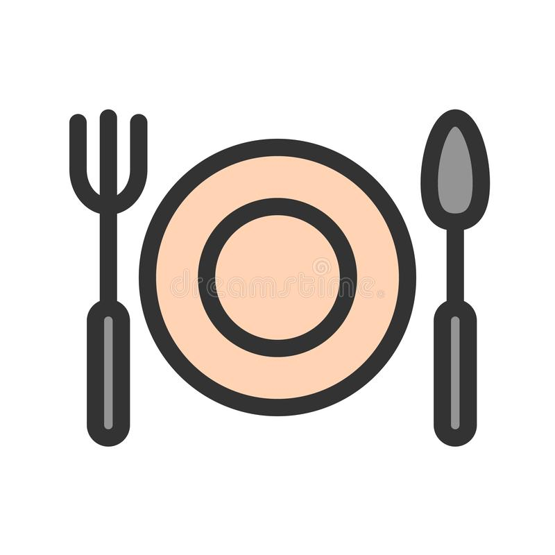Плита обедающего иллюстрация вектора