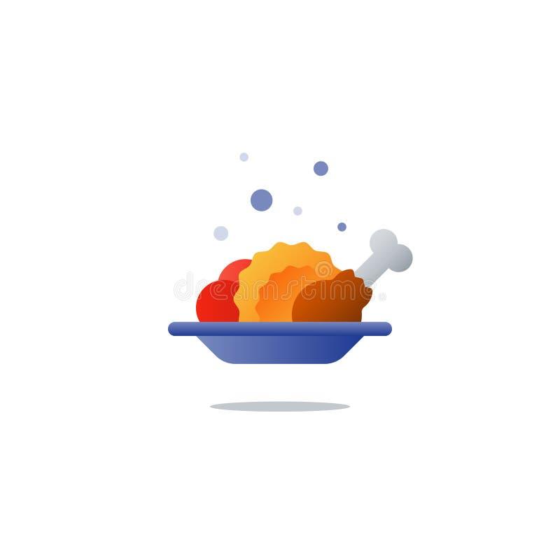 Плита обеда, вкусный обедающий, значок основного блюда иллюстрация вектора