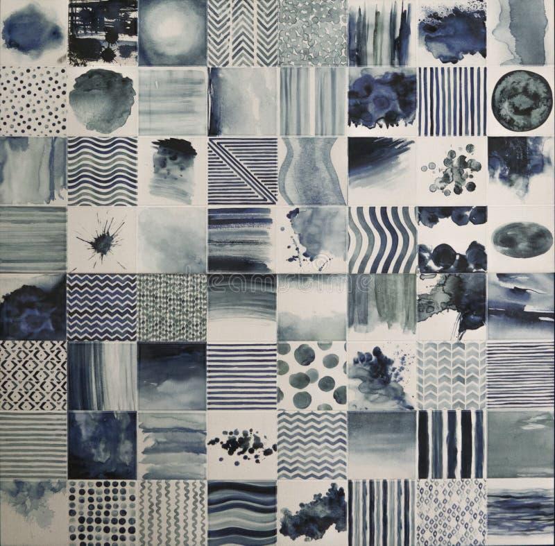 Плитка мозаики акварели стоковые фотографии rf