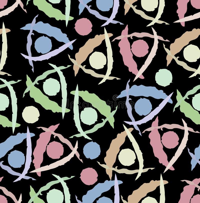 Плитка современной абстрактной предпосылки безшовная с картинами треугольника и круга grunge в розовых, зеленых, голубых и бежевы иллюстрация вектора