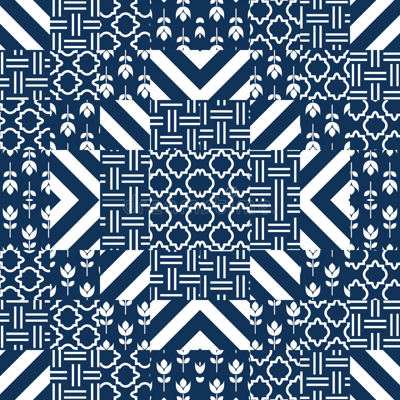 Плитки картины вектора лоскутного одеяла иллюстрация штока