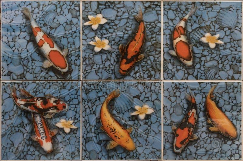 Плитки мозаики рыб КАРПА стоковая фотография