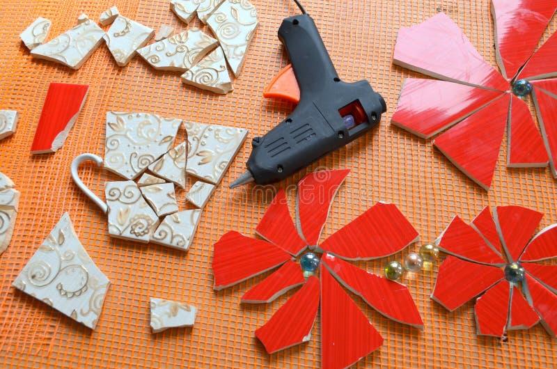 Плитки мозаики с летучей мышью стоковое фото rf