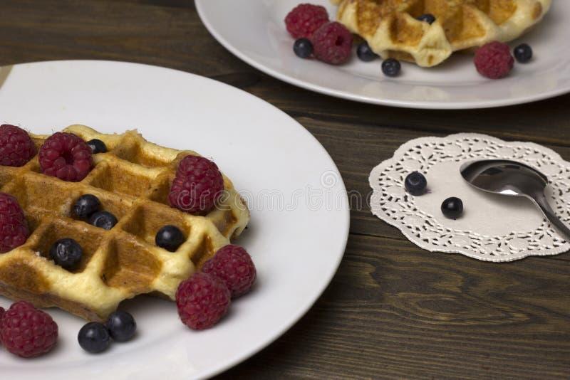 2 плиты waffles с ягодами стоковые фото