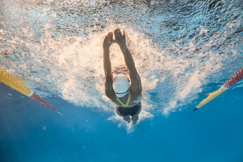 Пловец в заднем стиле ползания подводном стоковые изображения rf