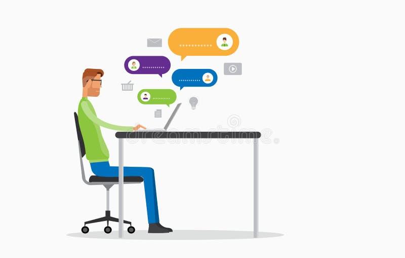 Плоская болтовня деятельности бизнесмена вектора к людям онлайн иллюстрация штока