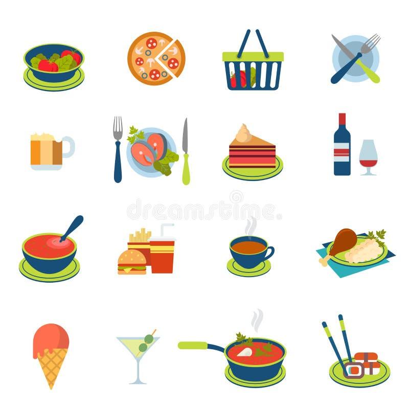 Плоская еда вектора и значок питья infographic: меню ресторана иллюстрация штока