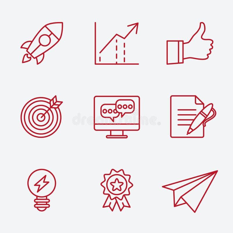 Плоская линия значки установленные планирования мелкого бизнеса бесплатная иллюстрация