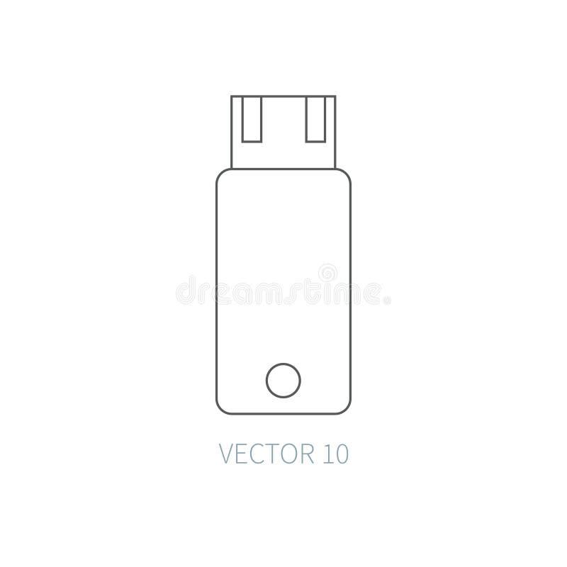 Плоская линия значок части компьютера вектора - внезапный привод Тип шаржа Иллюстрация и элемент для вашего дизайна просто иллюстрация вектора