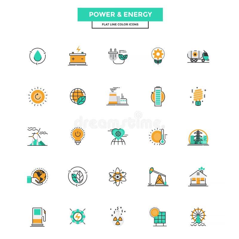 Плоская линия иконы сила и энергия цвета иллюстрация штока