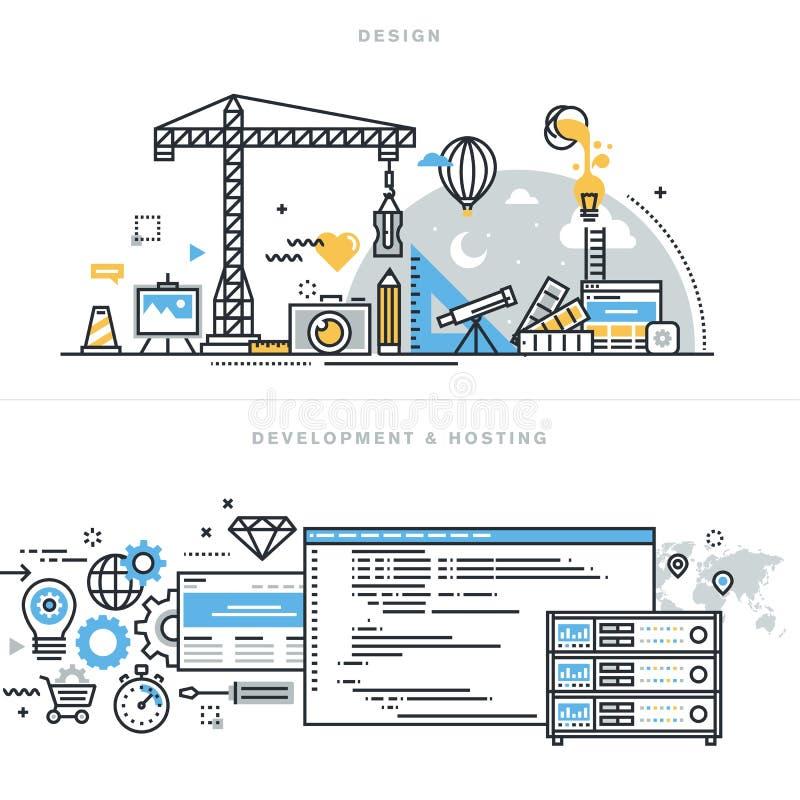 Плоская линия идеи проекта для графического дизайна, развития вебсайта и хостинга бесплатная иллюстрация