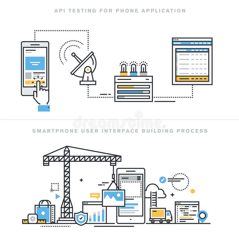 Плоская линия идеи проекта для передвижного развития apps и испытания API иллюстрация вектора