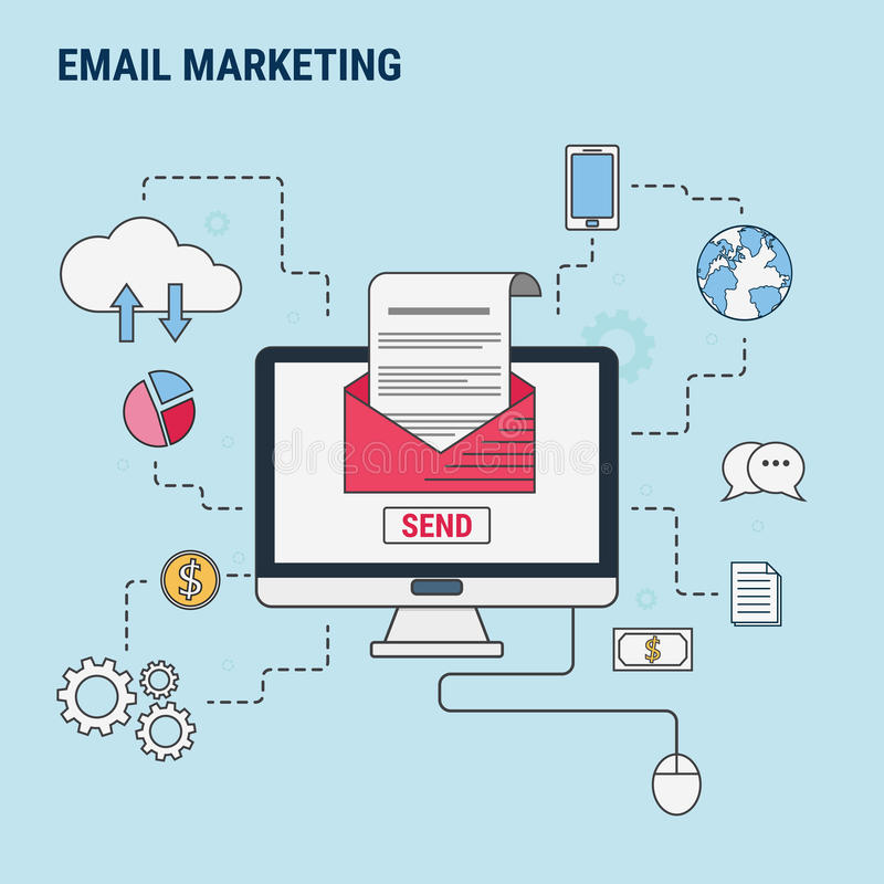Плоская линия идея проекта для маркетинга электронной почты, используемая для знамен сети, герой отображает, напечатанные материа иллюстрация вектора