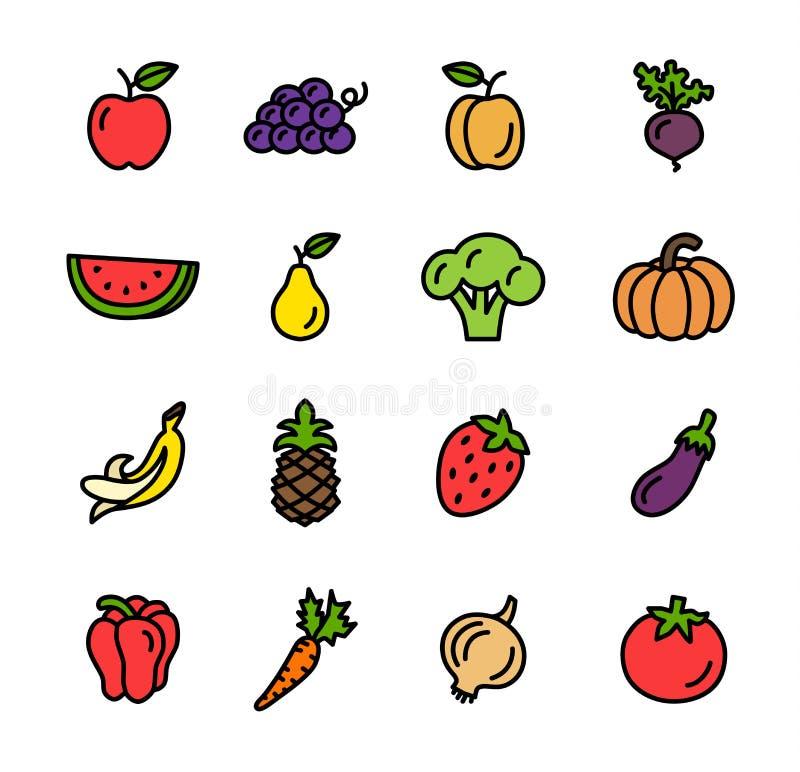 Плоская линия иллюстрация вектора значков овощей бесплатная иллюстрация