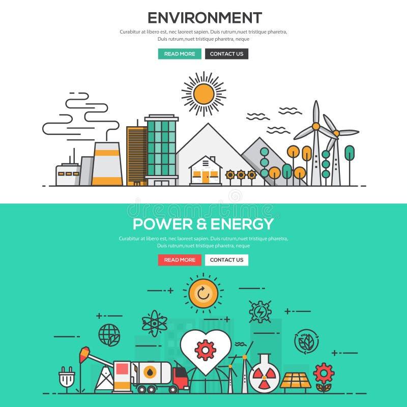 Плоская линия концепция дизайна - окружающая среда и сила и энергия иллюстрация штока
