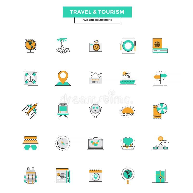 Плоская линия перемещение и туризм икон цвета бесплатная иллюстрация