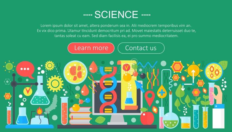 Плоская идея проекта науки Горизонтальное знамя с рабочим местом лаборатории ученого Эксперимент по научного исследования иллюстрация штока