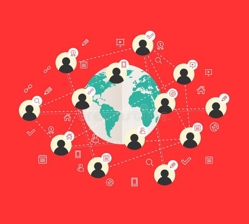 Плоская идея проекта с картой мира и социальной сетью иллюстрация штока