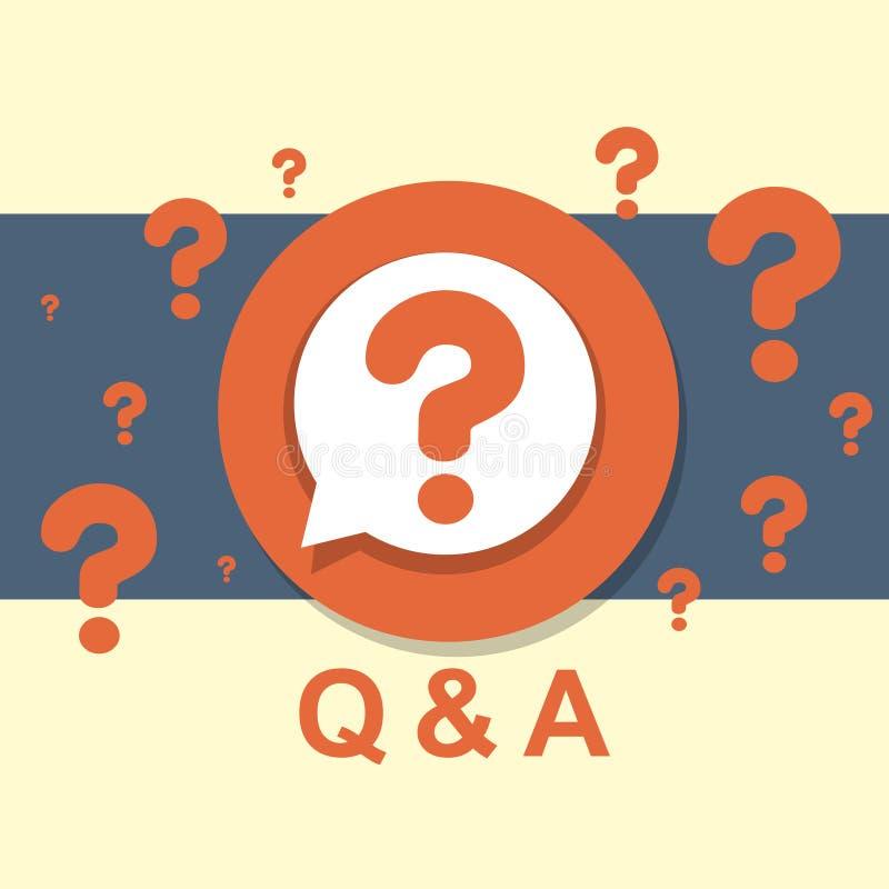 Плоская идея проекта Q&A иллюстрация вектора
