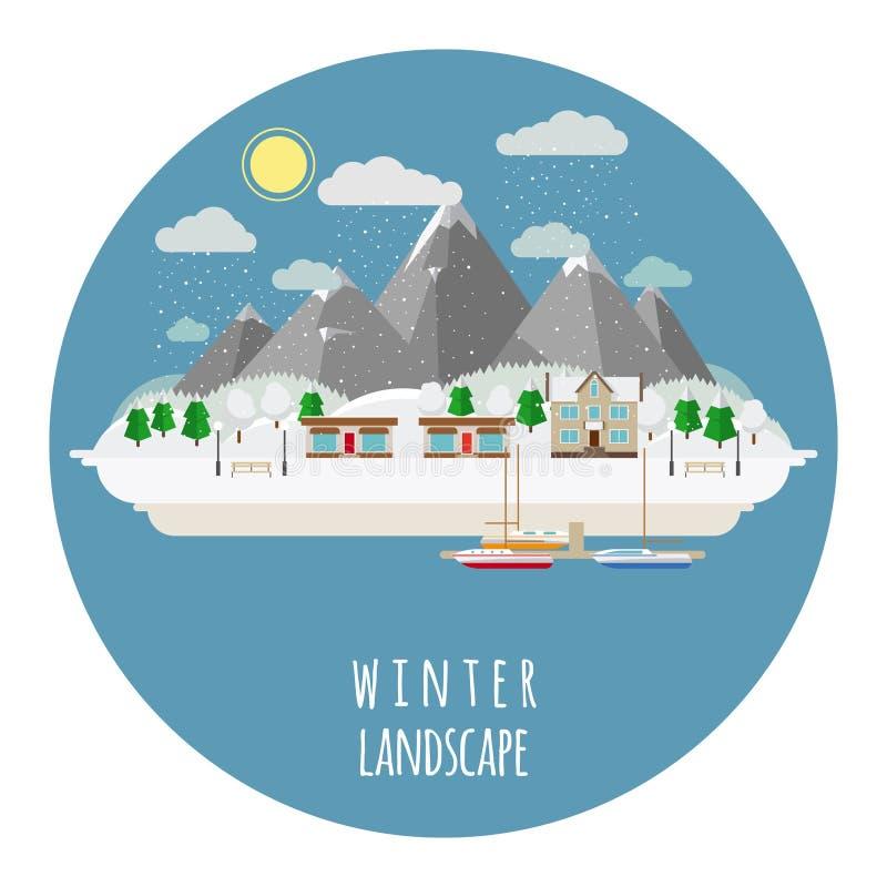Плоская иллюстрация ландшафта зимы с снегом иллюстрация штока