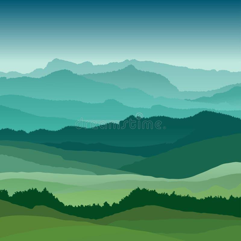 Плоская иллюстрация ландшафта Красивые холмы, дизайн вектора иллюстрация вектора