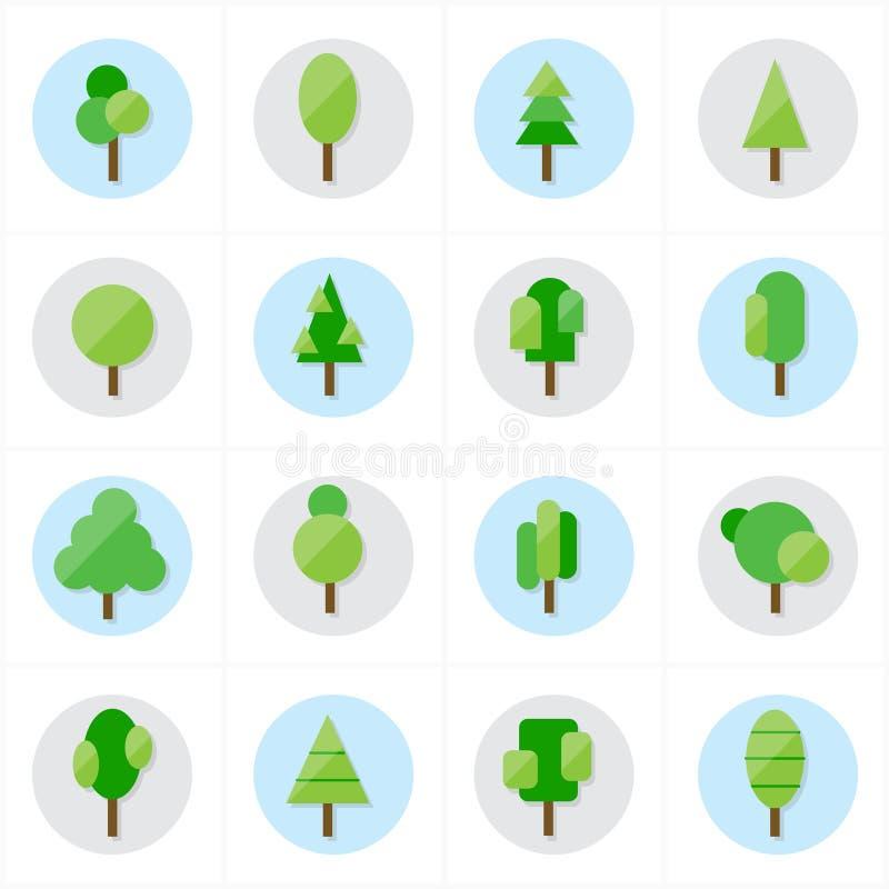 Плоская иллюстрация вектора значков дерева иллюстрация штока