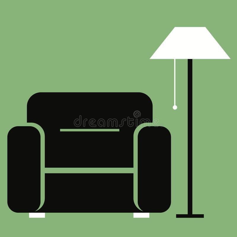 Плоская иллюстрация вектора Значок мебели Удобный стул с лампой пола иллюстрация вектора