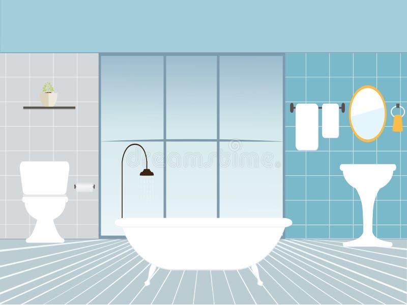 Плоская иллюстрация вектора дизайна современного интерьера ванной комнаты иллюстрация вектора