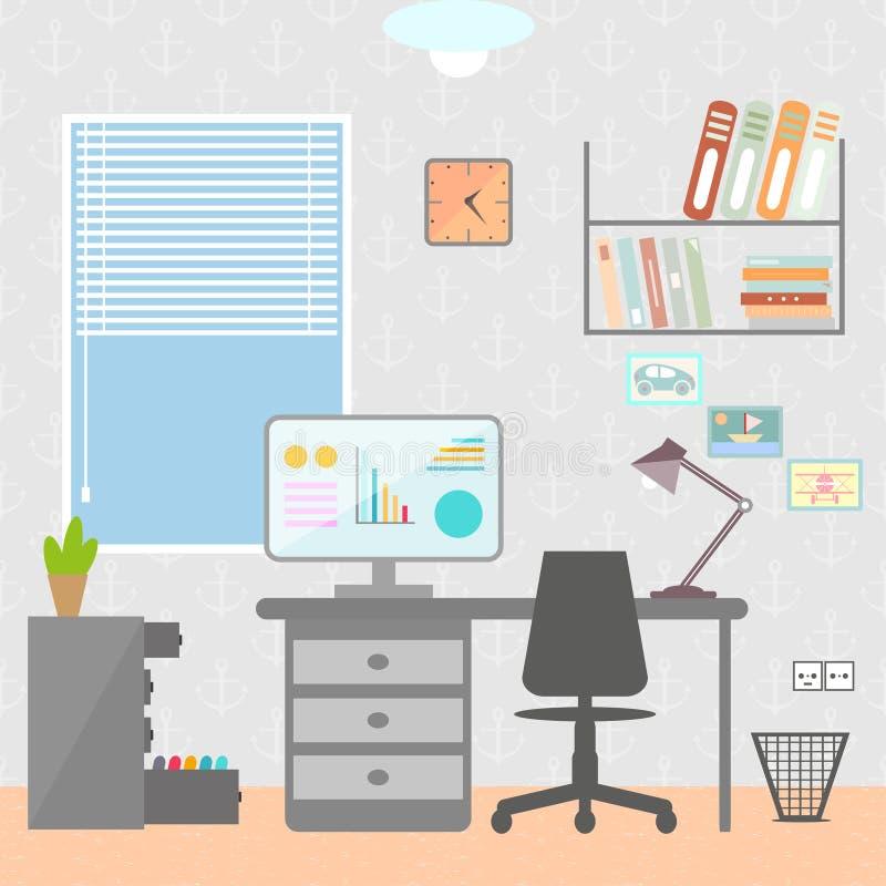 Плоская иллюстрация вектора дизайна современного интерьера домашнего офиса иллюстрация вектора