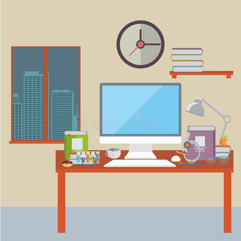 Плоская иллюстрация вектора дизайна современного интерьера офиса иллюстрация штока