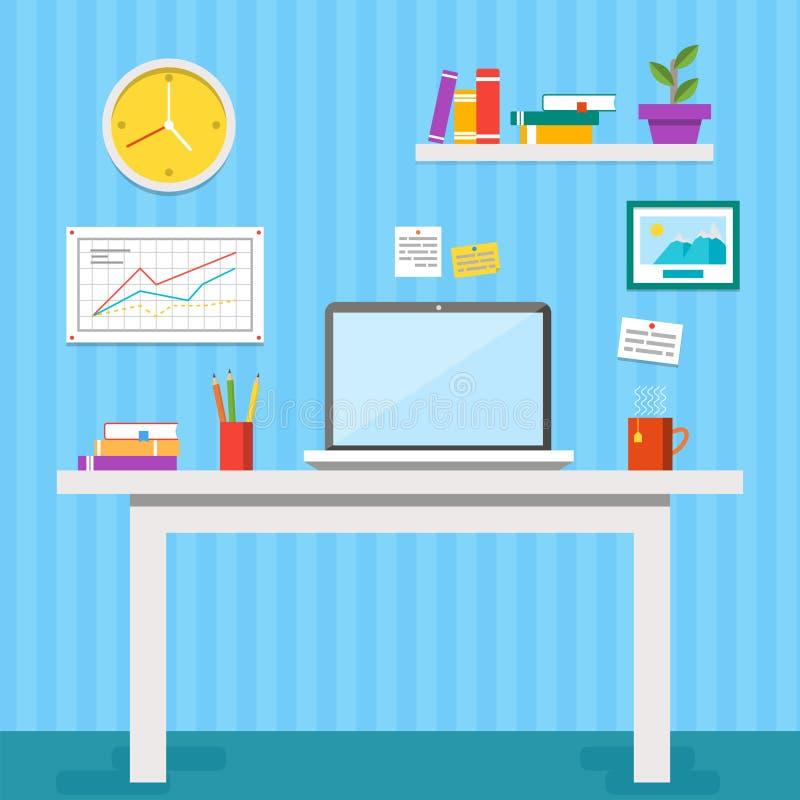 Плоская иллюстрация вектора дизайна современного интерьера офиса Творческое место для работы офиса с компьютером, папками, книгам иллюстрация вектора