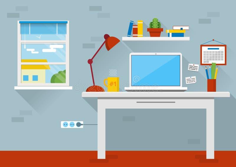 Плоская иллюстрация вектора дизайна современного интерьера офиса Творческое место для работы офиса шаржа с компьютером иллюстрация штока