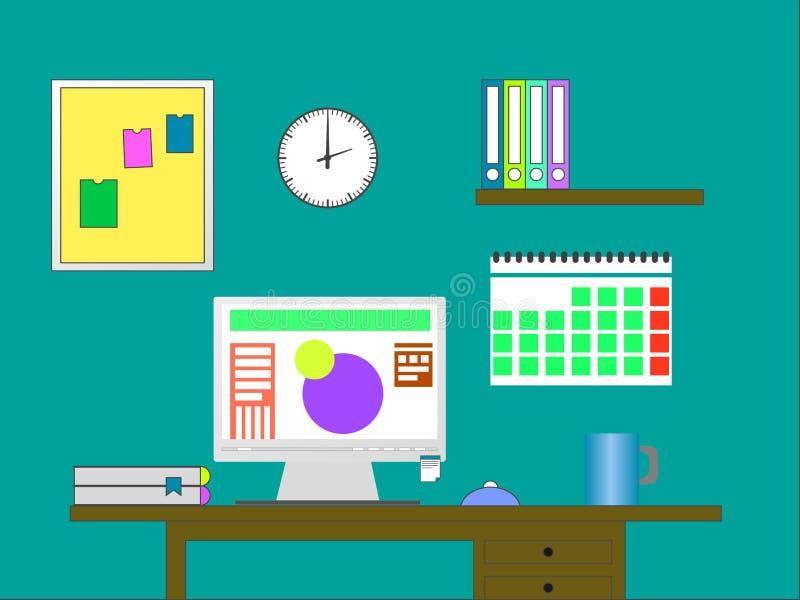 Плоская иллюстрация вектора дизайна современного офиса бесплатная иллюстрация