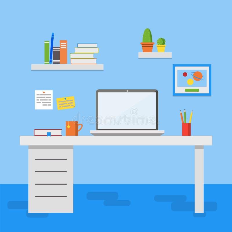 Плоская иллюстрация вектора дизайна, современный интерьер офиса бесплатная иллюстрация