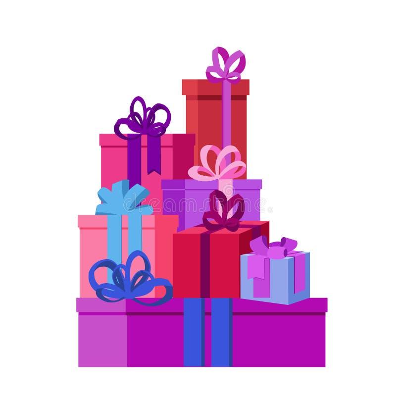 Плоская иллюстрация вектора изолированная с настоящими моментами и подарочными коробками для рождества иллюстрация вектора