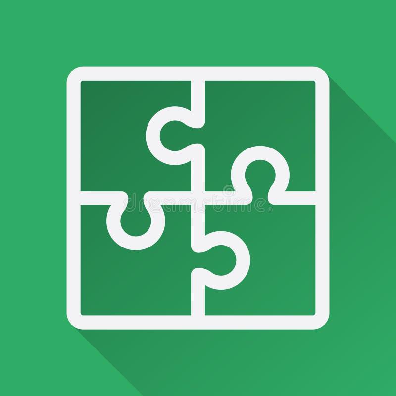 Плоская иллюстрация головоломки с длинной тенью сыгранность головоломки группы строителей принципиальной схемы дела здания Играть бесплатная иллюстрация
