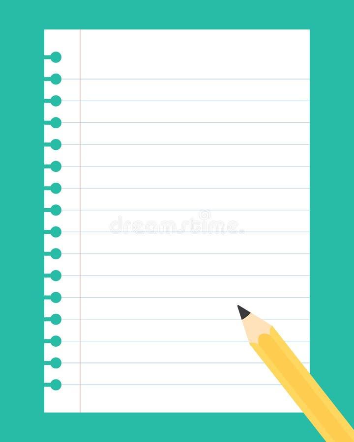 Плоская иллюстрация дизайна белого листа бумаги тетради с выкрикивает иллюстрация штока