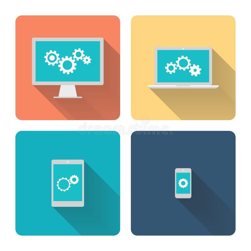 Плоская иллюстрация дизайна: компьютерное программирование Cogwheels, шестерни на экране иллюстрация вектора