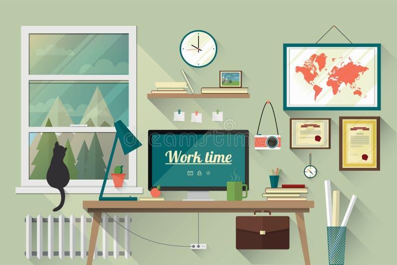 Плоская иллюстрация дизайна современного рабочего места бесплатная иллюстрация