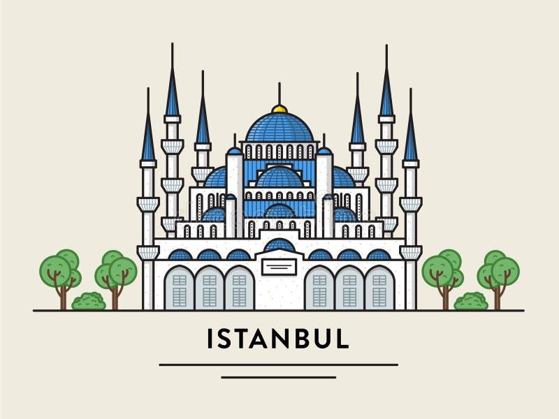 Плоская иллюстрация дизайна Стамбула Турции детализировала силуэт иллюстрация штока