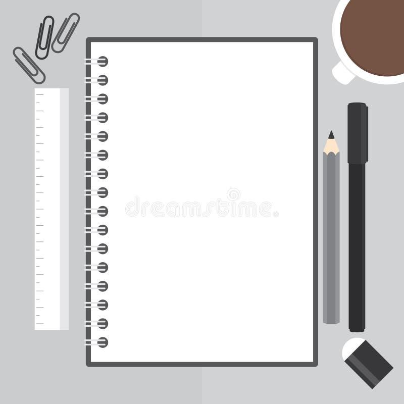Плоская иллюстрация дизайна черной тетради с shee белой бумаги бесплатная иллюстрация