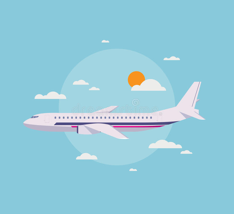 Плоская иллюстрация современного самолета в небе иллюстрация штока