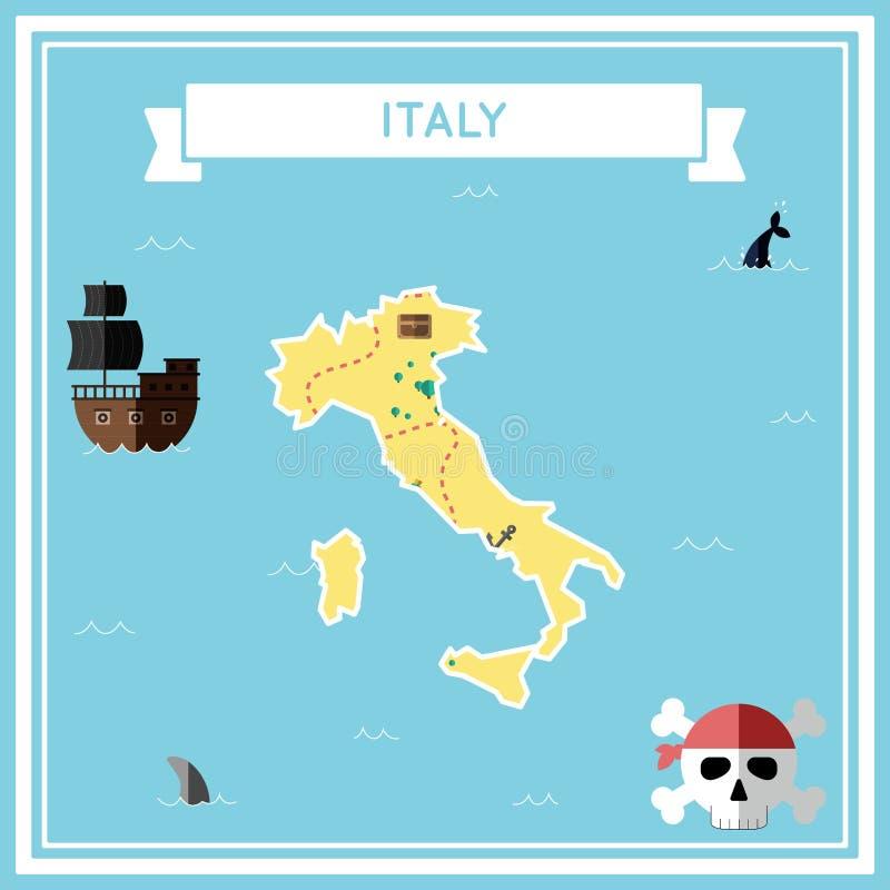 Плоская карта сокровища Италии иллюстрация вектора