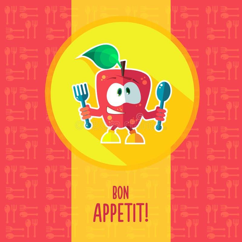 Плоская карточка вектора с яблоком и kitchenware шаржа шеф-повара иллюстрация штока
