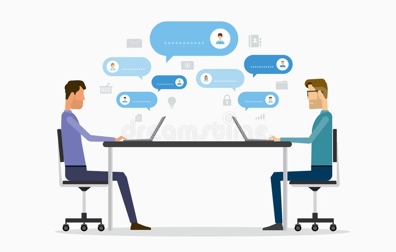 Плоская концепция болтовни онлайн деятельности бизнесмена вектора 2 бесплатная иллюстрация