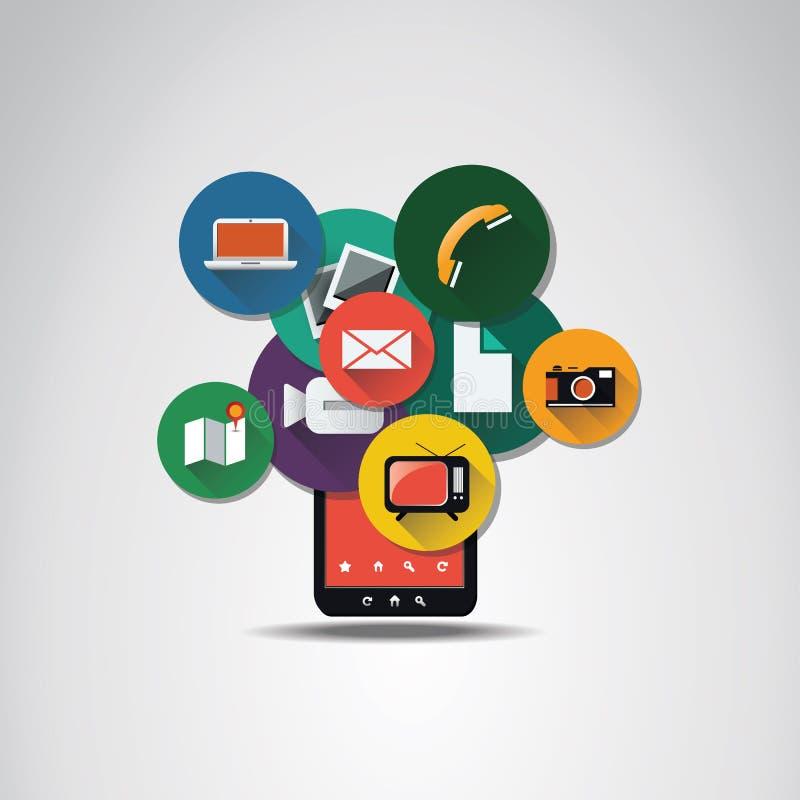 Плоская концепция значка UI для мобильных устройств иллюстрация вектора