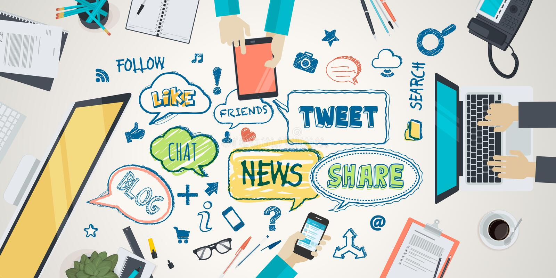 Плоская концепция иллюстрации дизайна для социальной сети бесплатная иллюстрация