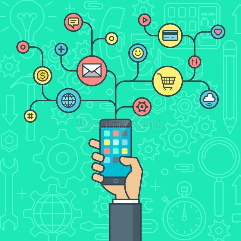 Плоская концепция иллюстрации дизайна для умного мобильного телефона app иллюстрация штока