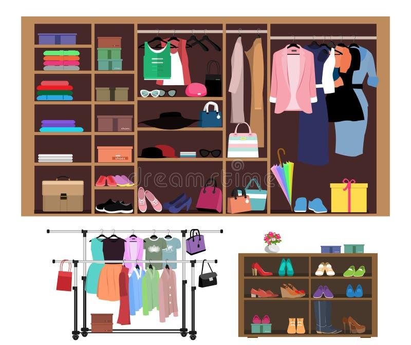 Плоская концепция стиля шкафа для женщин Стильный шкаф с модой, одеждами, ботинками и сумками женщин иллюстрация штока